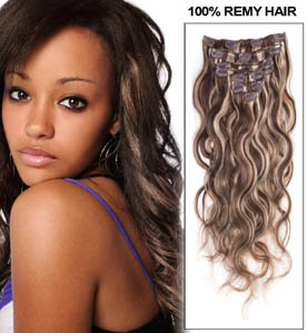 16 Inch #4/613 Delicate Clip In Hair Extensions Body Wave 7 Pcs