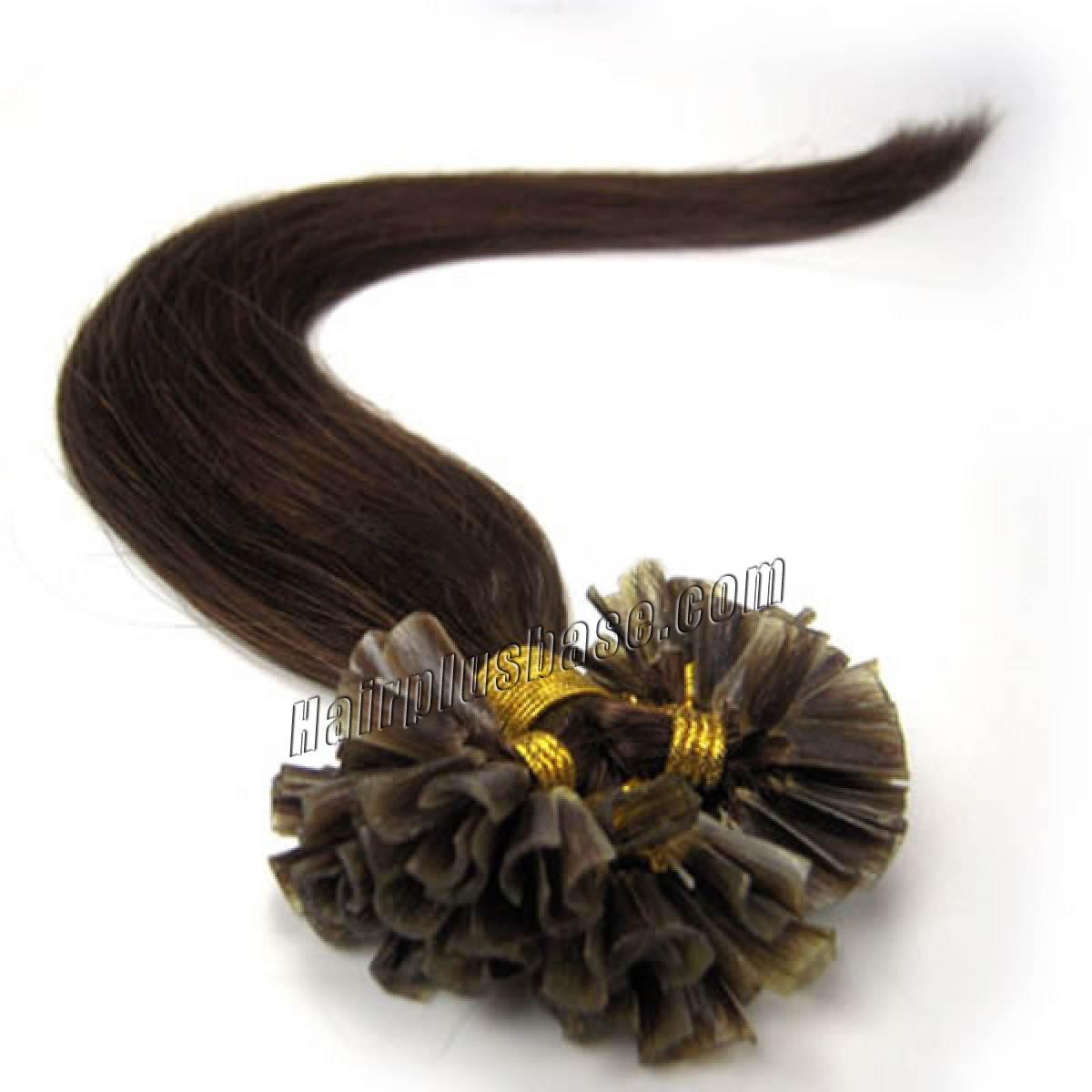 16 Inch 4 Medium Brown Nail Tip Human Hair Extensions 100s