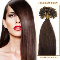 16 Inch #4 Medium Brown Stick Tip Human Hair Extensions 100S