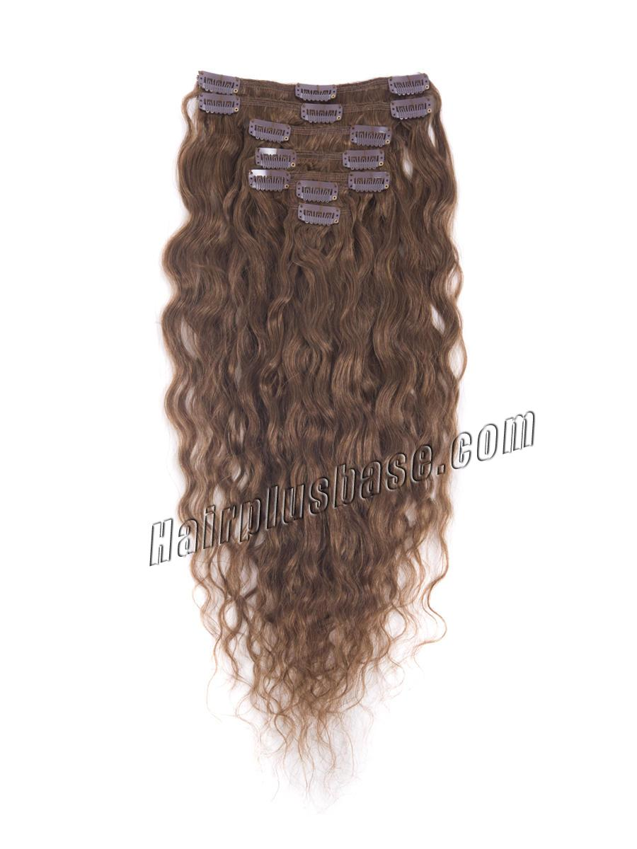 16 Inch #6 Light Brown Fine Clip In Hair Extensions Loose Wavy 7 Pcs no 1