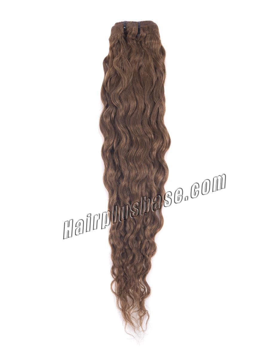 16 Inch #6 Light Brown Fine Clip In Hair Extensions Loose Wavy 7 Pcs no 3