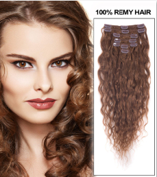16 Inch #6 Light Brown Fine Clip In Hair Extensions Loose Wavy 7 Pcs