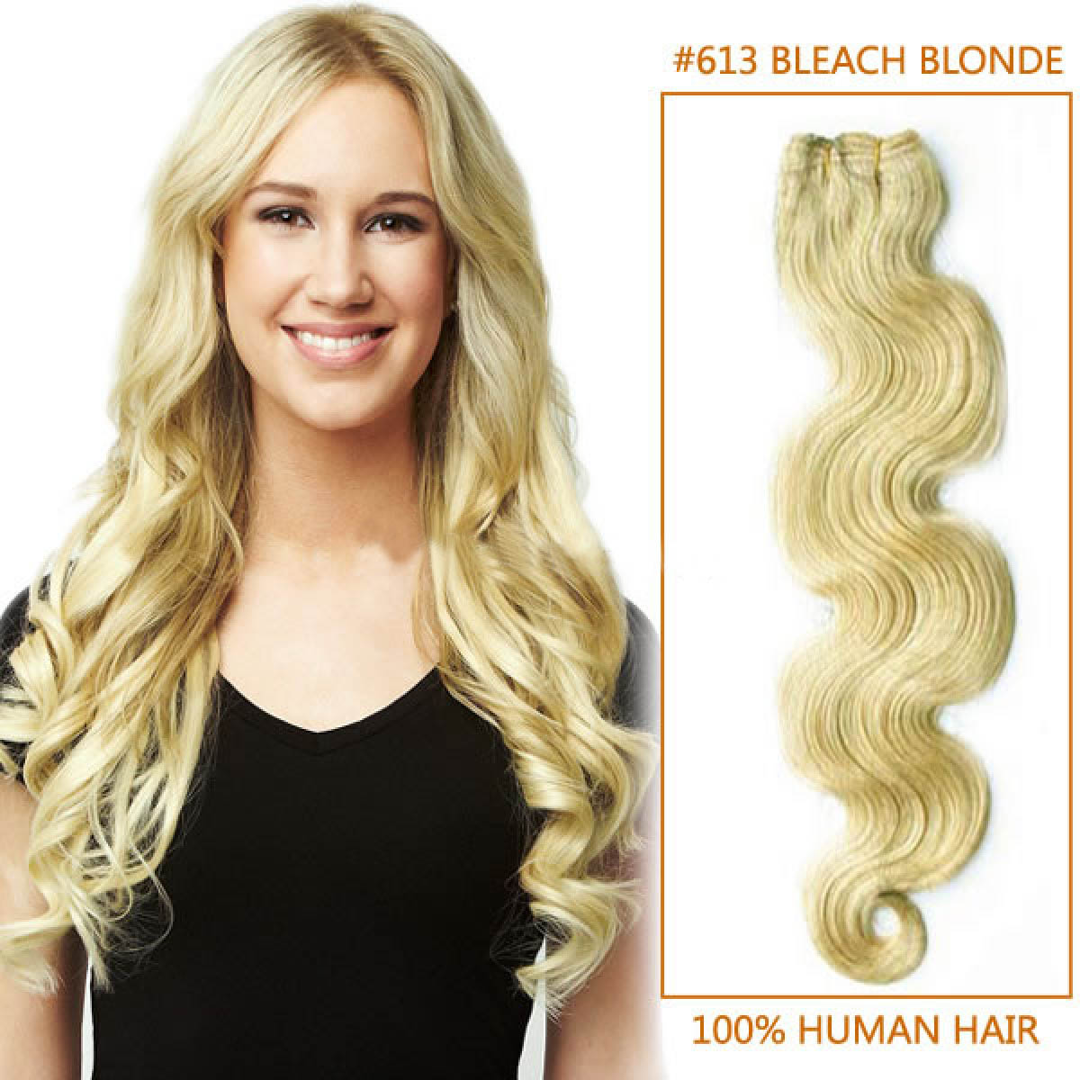 16 Inch 613 Bleach Blonde Body Wave Brazilian Virgin Hair Wefts