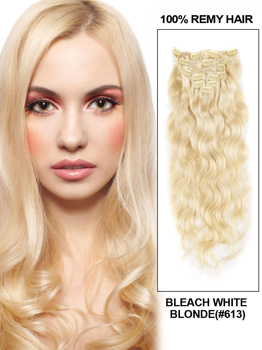 16 Inch 613 Bleach Blonde Clip In Hair Extensions Body Wave 11 Pieces