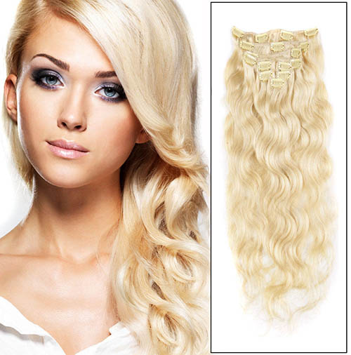 16 Inch #613 Bleach Blonde Fine Clip In Hair Extensions Body Wave 7 Pcs