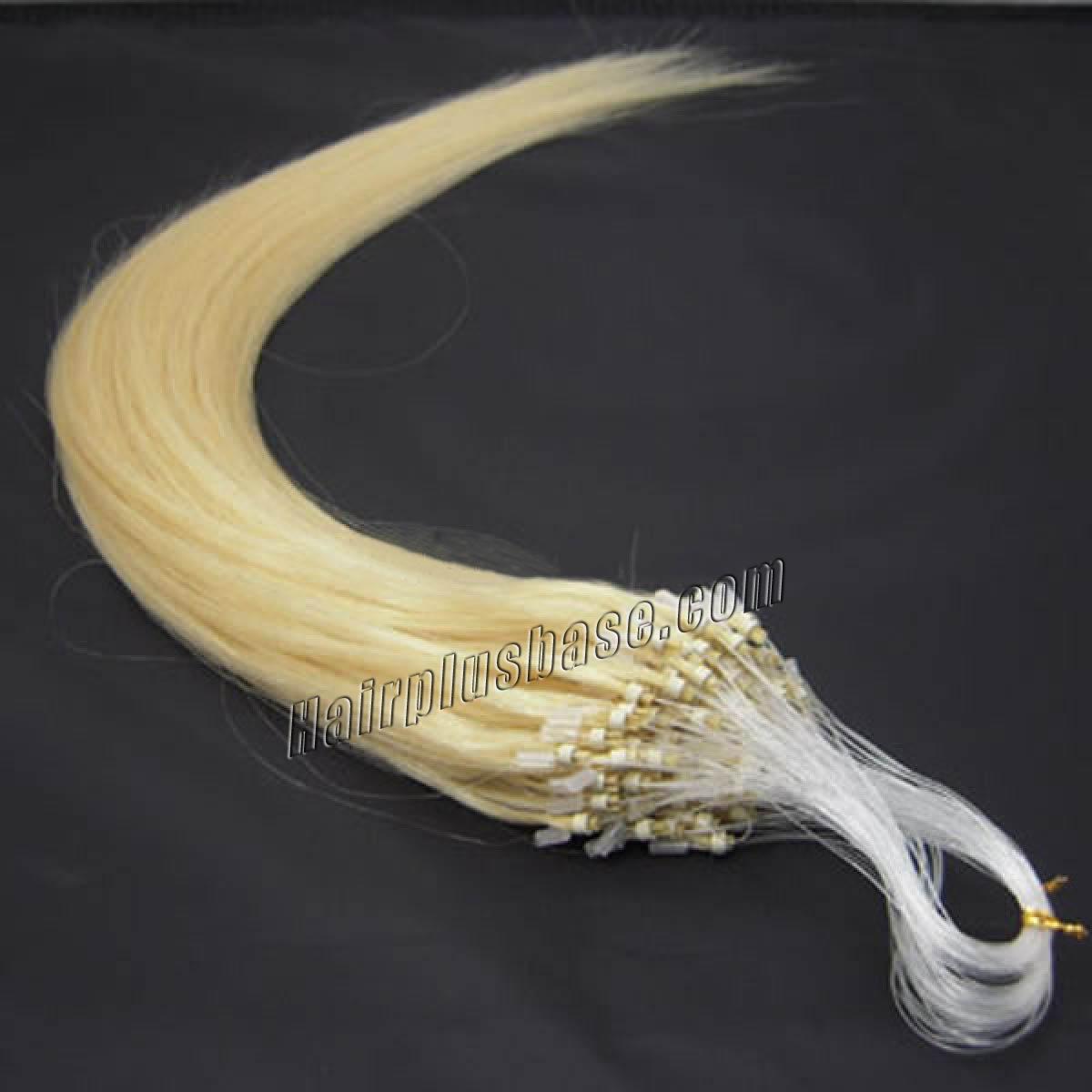 16 Inch #613 Bleach Blonde Micro Loop Human Hair Extensions 100S no 1