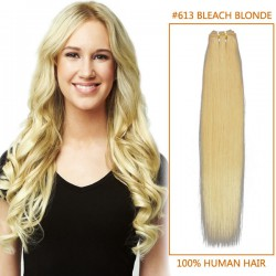 16 Inch #613 Bleach Blonde Straight Indian Remy Hair Wefts