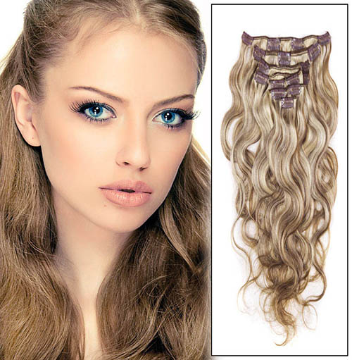 16 Inch #8/613 Ash Brown/Blonde Fine Clip In Hair Extensions Body Wave 7 Pcs