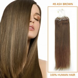 16 Inch #8 Ash Brown Micro Loop Human Hair Extensions 100S