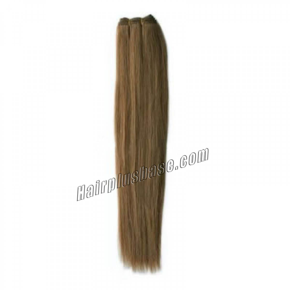 16 Inch #8 Ash Brown Straight Brazilian Virgin Hair Wefts no 1
