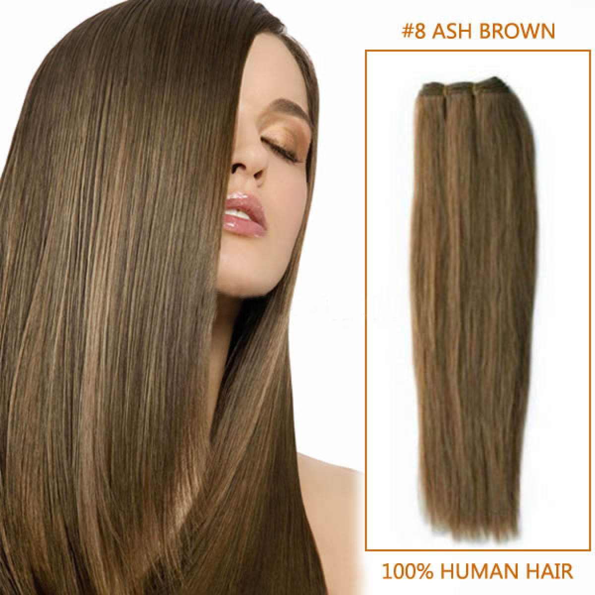 16 Inch #8 Ash Brown Straight Brazilian Virgin Hair Wefts