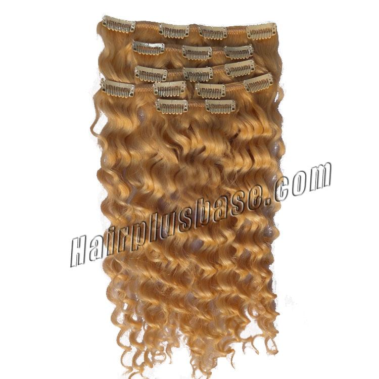 16 Inch Adorable #27 Strawberry Blonde Clip In Remy Hair Extensions Curly 7 Pcs no 1