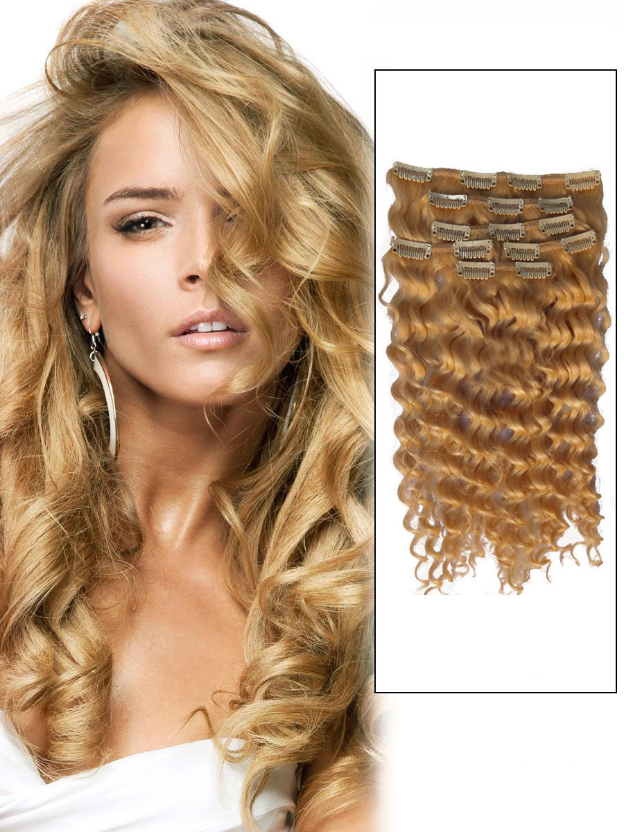 16 Inch Adorable #27 Strawberry Blonde Clip In Remy Hair Extensions Curly 7 Pcs