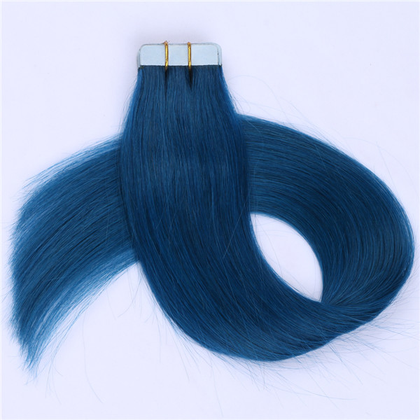 16 Inch Blue Tape In Human Hair Extensions 20pcs