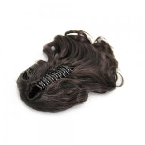 16 Inch Claw Clip Human Hair Ponytail Curly Glossy #2 Dark Brown
