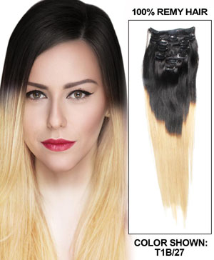 16 Inch Clean Strawberry blonde and dark black Ombre Clip in Hair Extensions Two Tone Straight 9 Pieces