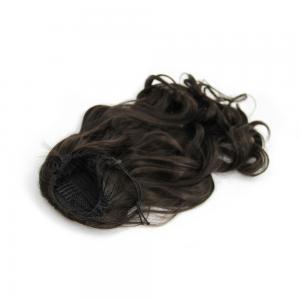 16 Inch Drawstring Human Hair Ponytail Casual Curly #2 Dark Brown