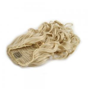 16 Inch Drawstring Human Hair Ponytail Exquisite Curly #24 Ash Blonde