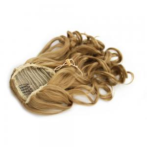 16 Inch Drawstring Human Hair Ponytail Golden Curly #27 Strawberry Blonde
