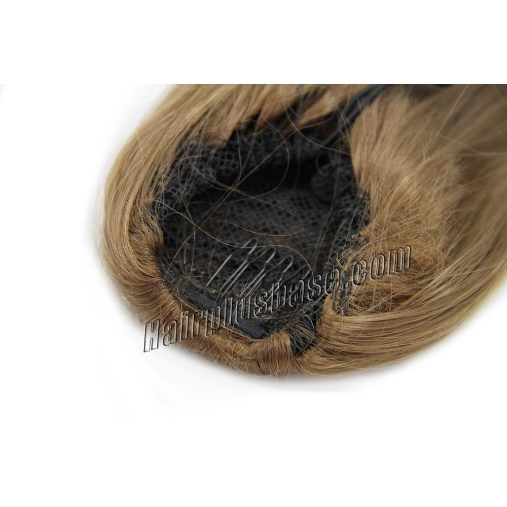 16 Inch Drawstring Human Hair Ponytail Silky Straight #8 Ash Brown no 1