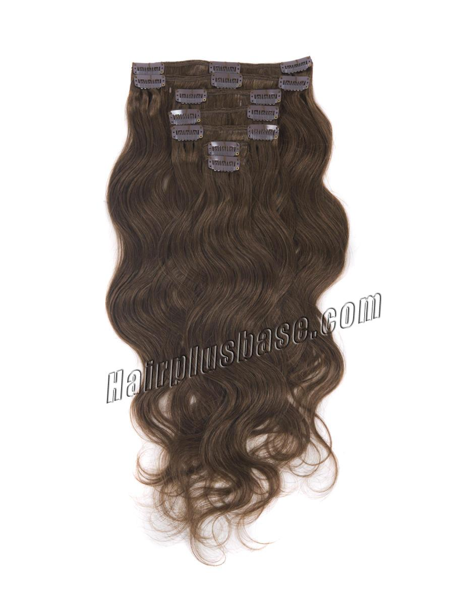16 Inch Fabulous #6 Light Brown Clip In Hair Extensions Body Wave 7 Pcs no 2