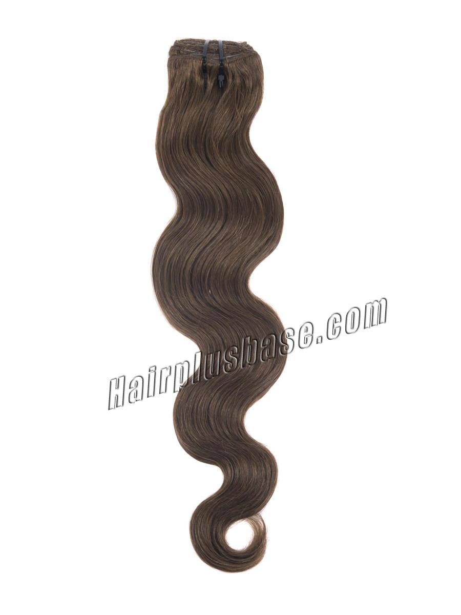 16 Inch Fabulous #6 Light Brown Clip In Hair Extensions Body Wave 7 Pcs no 3