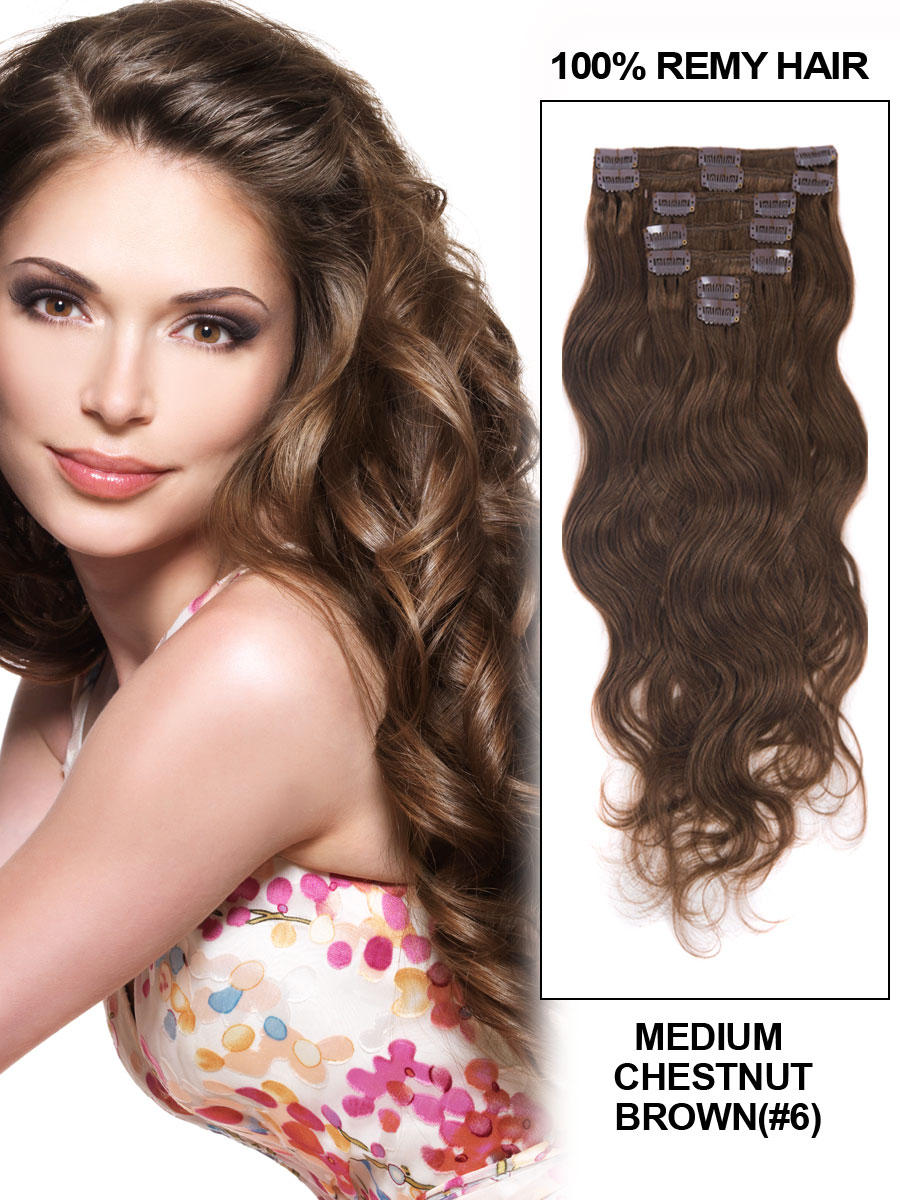 16 Inch Fabulous 6 Light Brown Clip In Hair Extensions Body Wave 7 Pcs