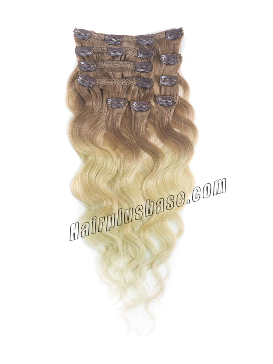 16 Inch Fancy Three Colors Ombre Clip In Indian Remy Hair Extensions Body Wave 9pcs no 1