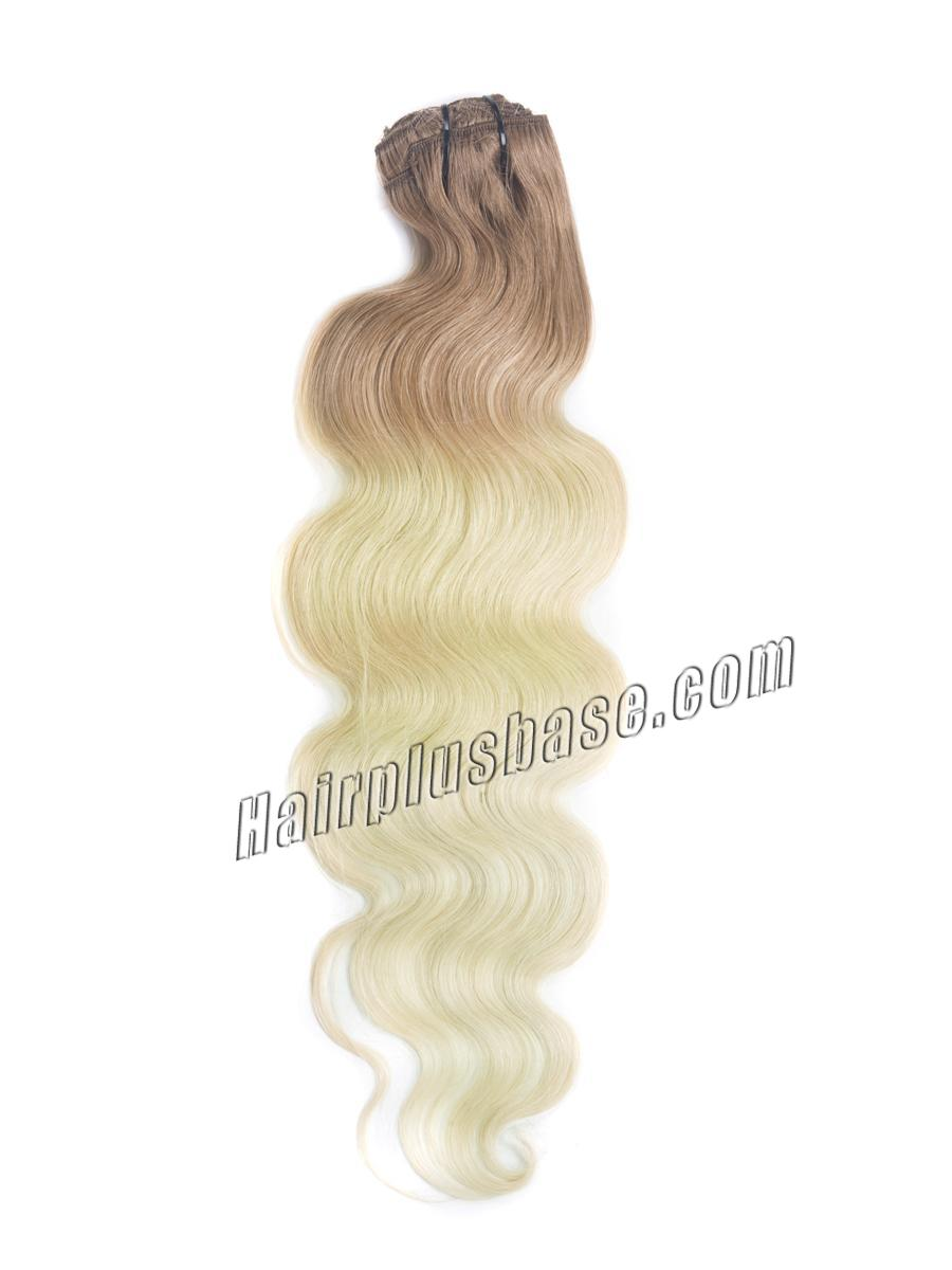 16 Inch Fancy Three Colors Ombre Clip In Indian Remy Hair Extensions Body Wave 9pcs no 2