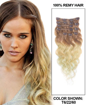 16 Inch Fancy Three Colors Ombre Clip In Indian Remy Hair Extensions Body Wave 9pcs
