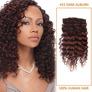 16 Inch Glossy #33 Dark Auburn Clip In Hair Extensions Curly 7 Piece