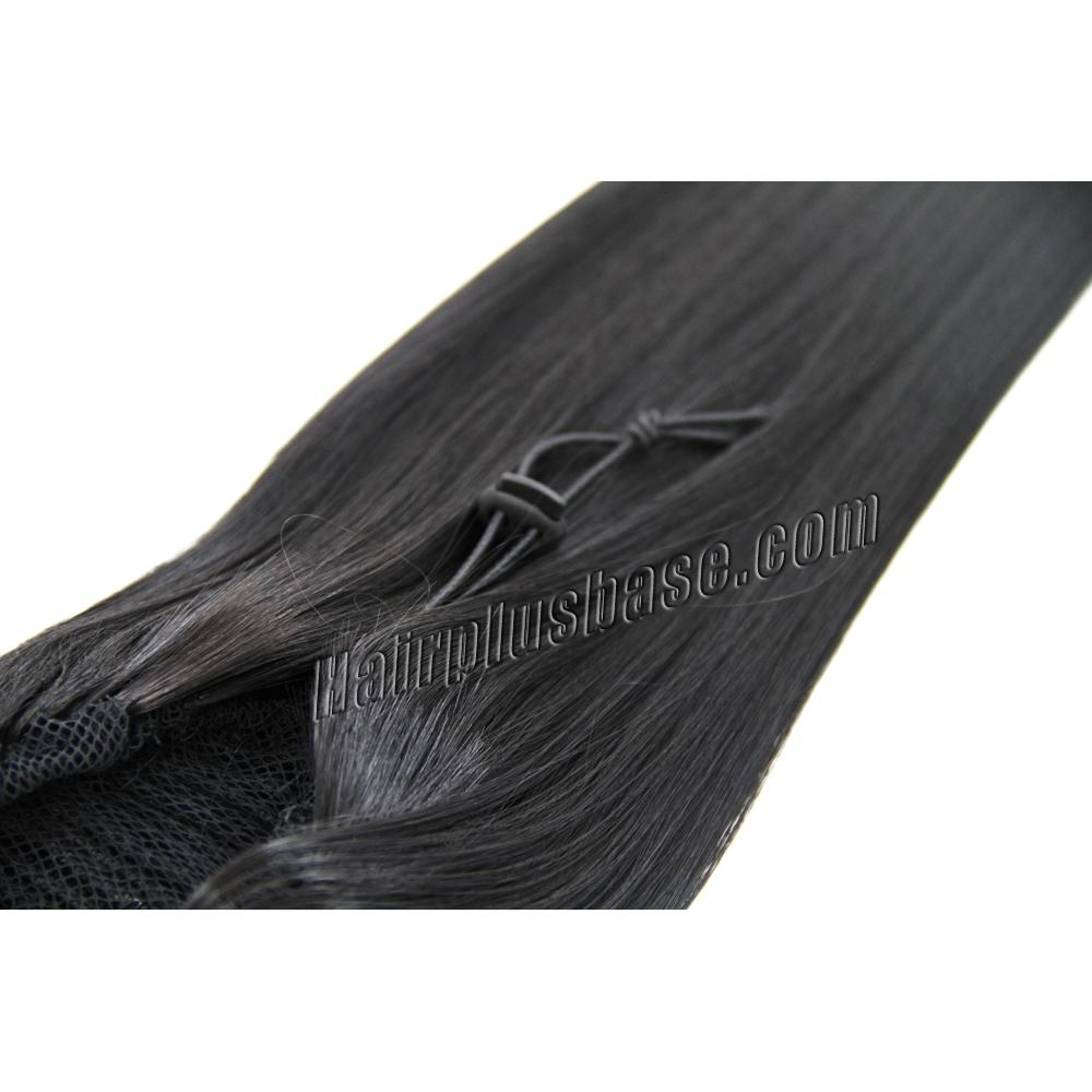 16 Inch Good Grip of Drawstring Human Hair Ponytail Straight #1B Natural Black no 1