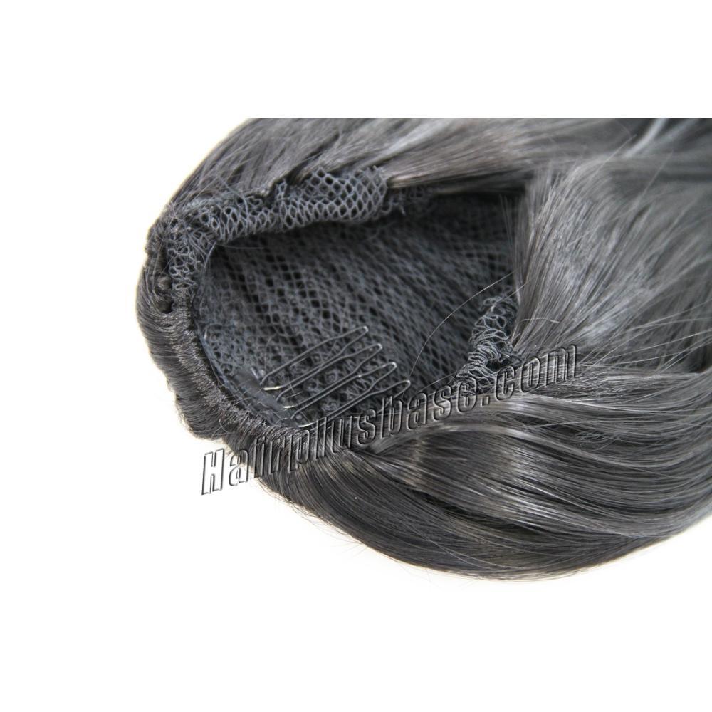 16 Inch Good Grip of Drawstring Human Hair Ponytail Straight #1B Natural Black no 3