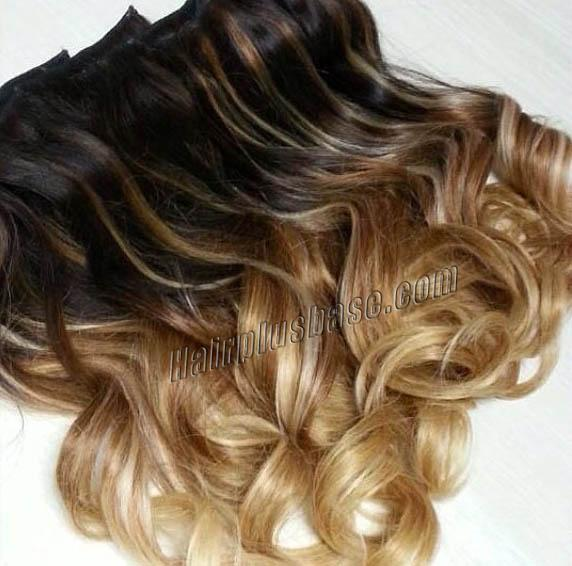 16 Inch Harmonious Ombre Clip In Remy Human Hair Extensions Three Tone Body Wave 9pcs no 1