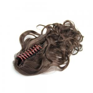 16 Inch Instant Claw Clip Human Hair Ponytail Curly #4 Medium Brown