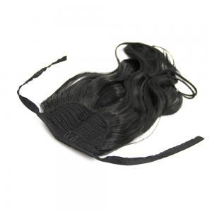 16 Inch Lace/Ribbon Human Hair Ponytail Glamorous Curly #1 Jet Black