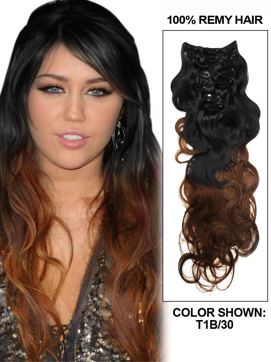16 Inch Modern Ombre Clip In Hair Extensions Two Tone Body Wave 9 Pieces