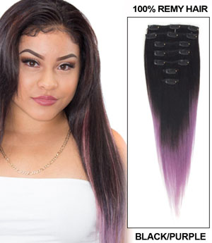 16 Inch Perfect Ombre Clip in Hair Extensions Two Tone Straight 9 Pieces