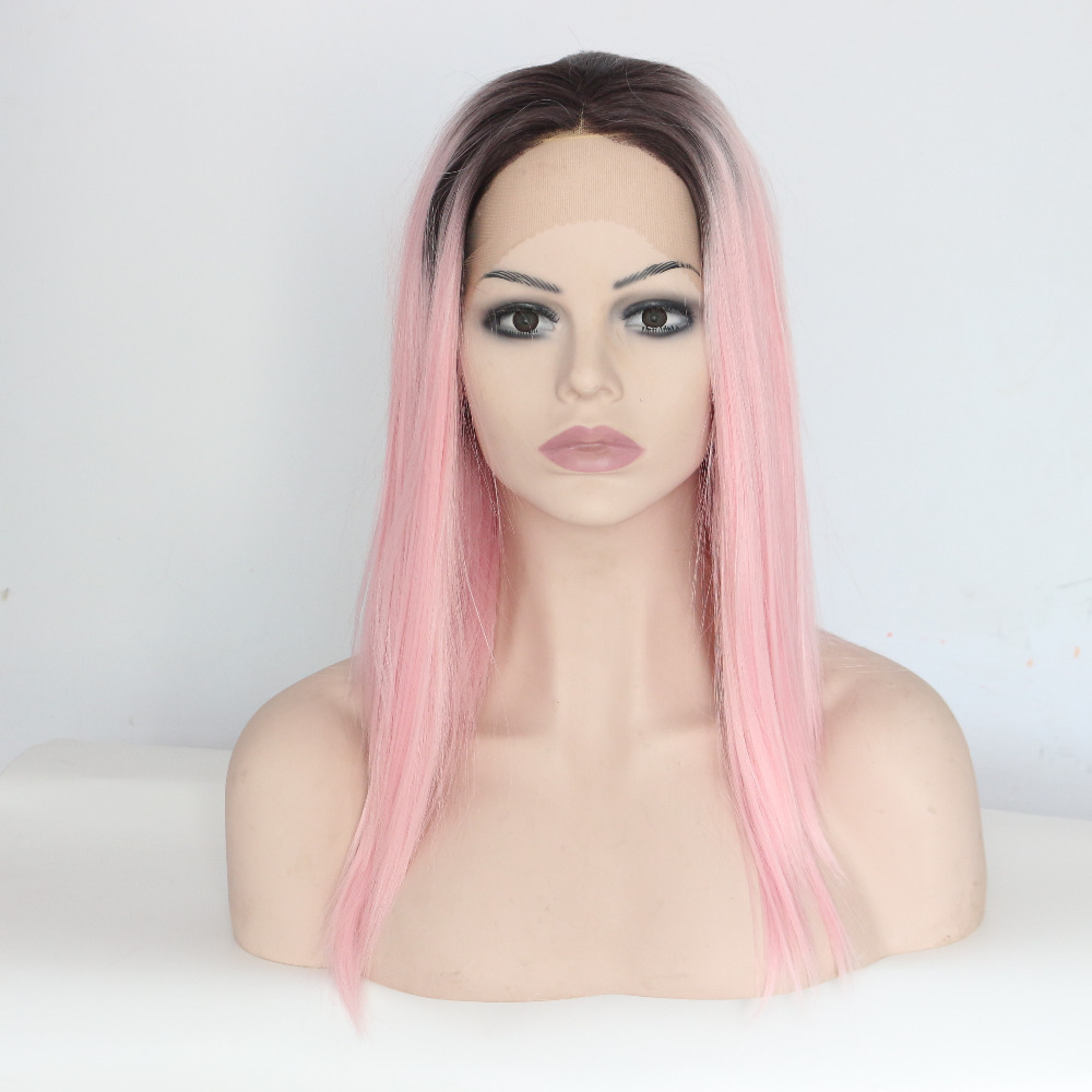16 Inch Pink Dark Roots Straight Synthetic Hair Lace Front Wig