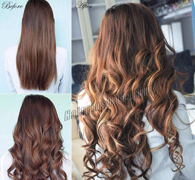 16 Inch Refined Three Colors Clip In Human Hair Extensions Body Wave 9pcs no 1
