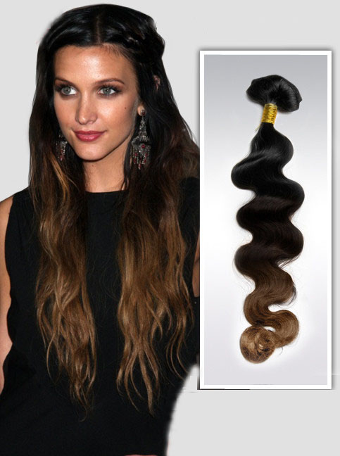 16 Inch Retro Three Colors Ombre Clip In Indian Remy Hair Extensions Body Wave 9pcs