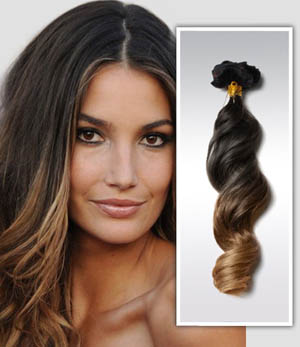 16 Inch Sexy Three Colors Ombre Clip In Remy Human Hair Extensions Body Wave 9pcs