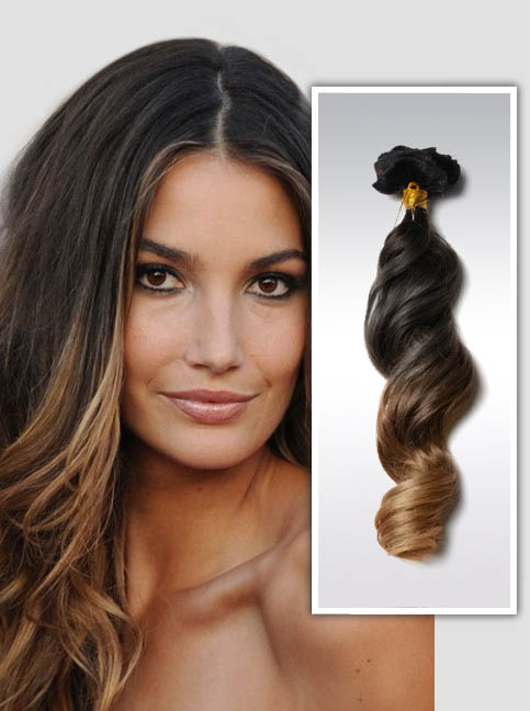 16 Inch Sexy Three Colors Ombre Clip In Remy Human Hair Extensions