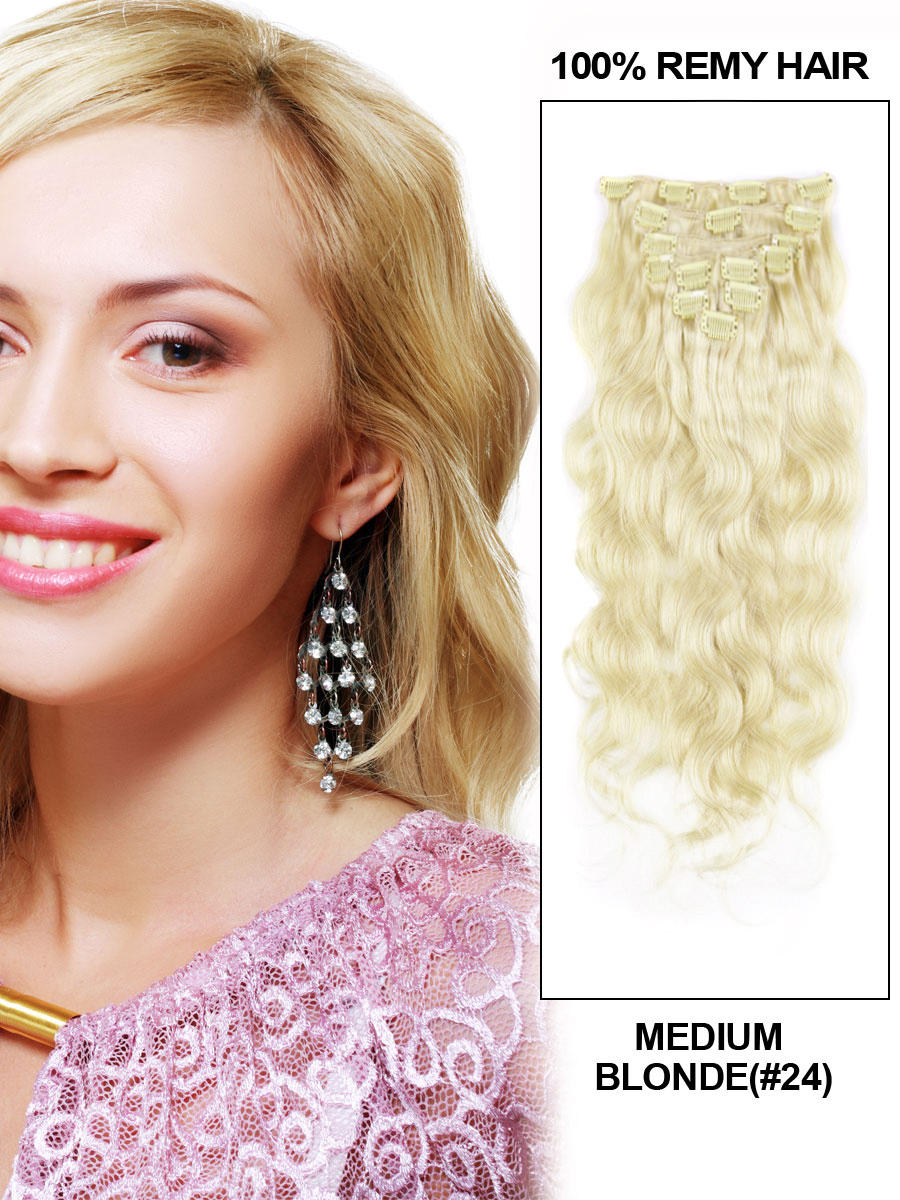 16 Inch Significant #24 Ash Blonde Clip In Human Hair Extensions Body Wave 9 Pieces