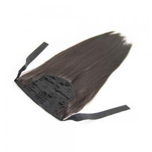16 Inch Succinct Lace/Ribbon Human Hair Ponytail Straight #2 Dark Brown