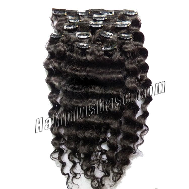 16 Inch Versatile #1B Natural Black Clip In Hair Extensions Curly 7 Pieces no 1