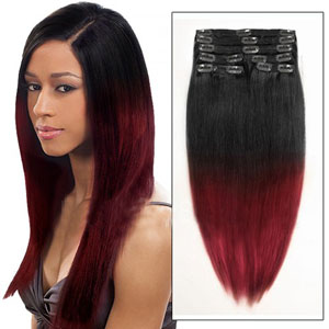16 Inches Ombre #1BT#34 Clip In Hair Extensions Two Tone Straight 9 Pieces