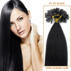 18 Inch #1 Jet Black Stick Tip Human Hair Extensions 100S