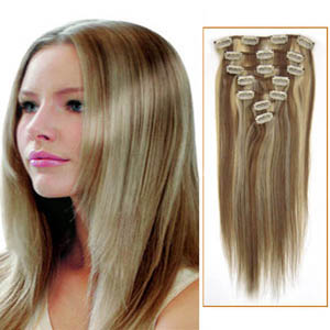 18 Inch #12/613 Golden Brown Clip In Remy Human Hair Extensions 7pcs