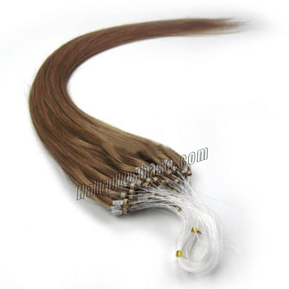 18 Inch #12 Golden Brown Micro Loop Human Hair Extensions 100S no 1